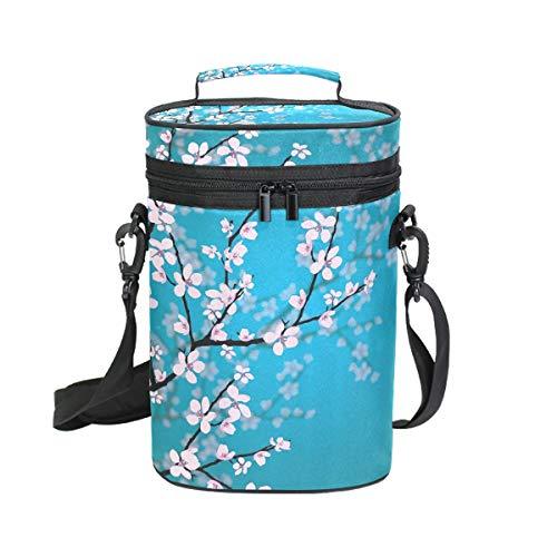 Montoj - Bolsa térmica para botellas de vino con aislamiento para viajes, flores japonesas Sakura, cerezo y flores