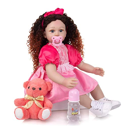 24 Pulgadas 60 cm Realista Reborn Princess Baby Dolls con Pelo Largo Cruly Vinilo Realista Silicona Muñeca Suave para niños pequeños Muñeca Hecha a Mano Bebés para niños de 3 años o más Regalo de Cum