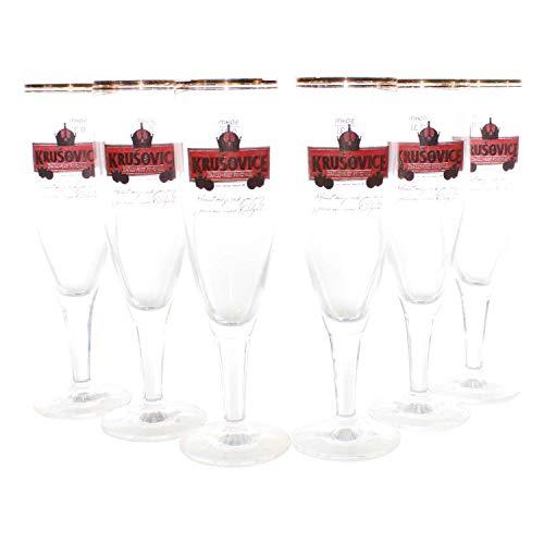 Krusovice Gläser Set 6x0,3l Bier Glas exkl. Bierpokal geeicht Goldrand ~mn 1151b 1282