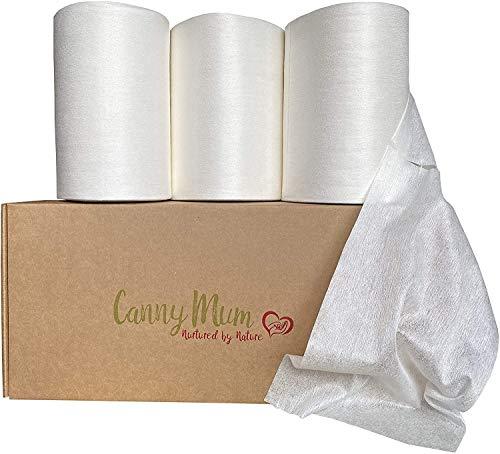 CannyMum Windelvlies & Tücher aus Bambus. Trockene Tücher oder selbstgemachte Feuchttücher (3 x 200 Blatt)