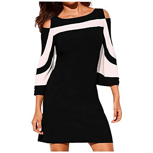 Your New Look Damen-Kleid, schulterfrei, 3/4-Ärmel, Farbblock, Bleistiftkleid mit Schulterausschnitt, Übergröße Gr. XX-Large, Schwarz