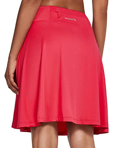 BALEAF Women's 20' Knee Length Skorts Skirts Long Golf Tennis Sports Casual Skirts Modest with Pockets Deep Pink XX-Large