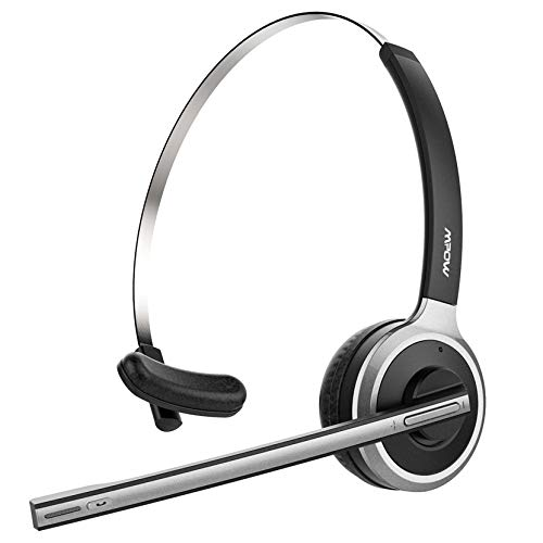 Mpow Truck Driver Bluetooth Headset, Hands Free Phone Headset with Noise Cancelling Microphone, Comfort-fit for Long Haul, On-the-Ear Skype Office Headsets for Clear Calls (Support Media Playing)
