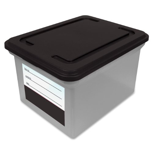 Advantus File Tote with Snap Lid and Contents Label, 14 x 18 x 10 Inches, Clear Base/Black Lid (55802)