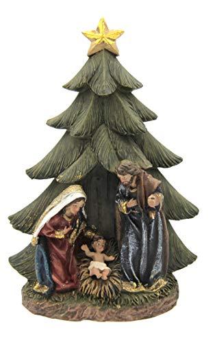 Unbekannt Neumeyer K0963 Weihnachtskrippe, Krippenblock HL. Familie aus Kunstharz handbemalt Tanne 16 cm, Bunt