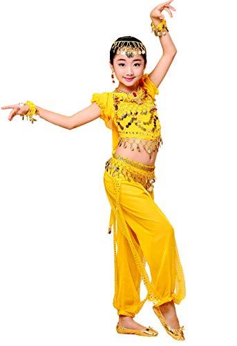 Grouptap Bollywood Indio 2 Piezas niños niñas bharatanatyam Estilo Danza del Vientre Amarillo niños Disfraces Traje Traje (Amarillo, 130-150cm Altura)