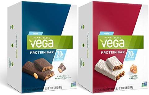 Vega 20g Protein Bar Bundle 12 Salted Caramel Bars Plus 12 Chocolate Peanut Butter Bars Plant product image