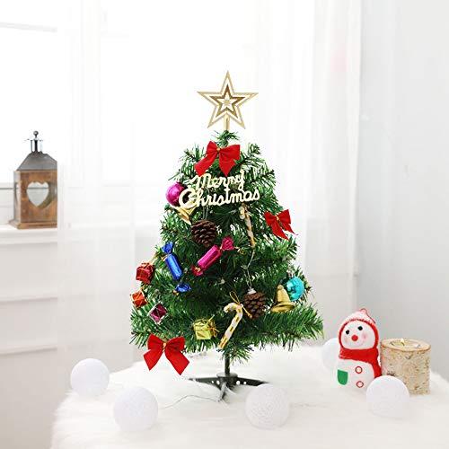 acetekクリスマスツリー卓上50cmミニツリークリスマス飾りLEDイルミネーション20点セットオーナメントおしゃれキラキラ暖かい雰囲気満々簡単な組立品飾り商店部屋おもちゃプレゼント
