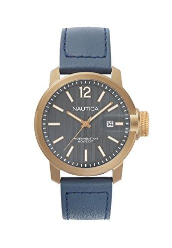 Nautica Herren Datum klassisch Quarz Uhr mit Leder Armband NAPSYD004