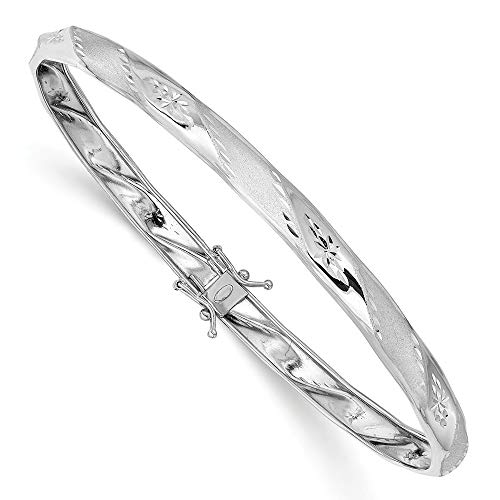 4.75mm 14ct White Gold Polished Satin Sparkle Cut Flexible Cuff Stackable Bangle Bracelet Jewelry Gifts for Women