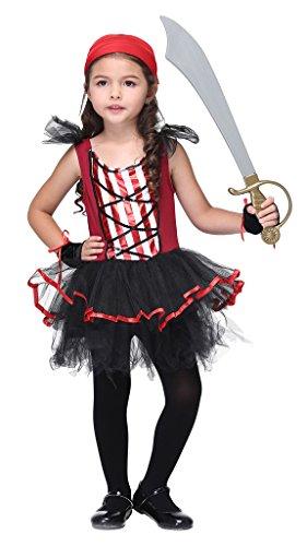 Bigood Costumes Déguisement Cospaly Pirate pour Enfant Fille pour Halloween M