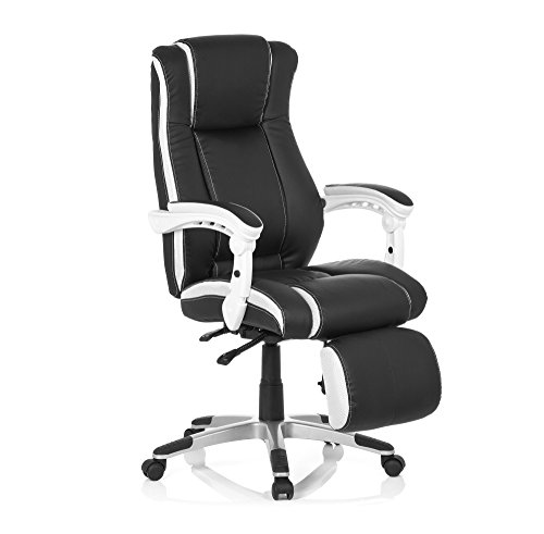 MyBuero 444450 - Sedia da ufficio Gaming Relax, modello direzionale con braccioli, girevole, modello ergonomico, per giochi vari e d'azzardo, in similpelle, nero/bianco