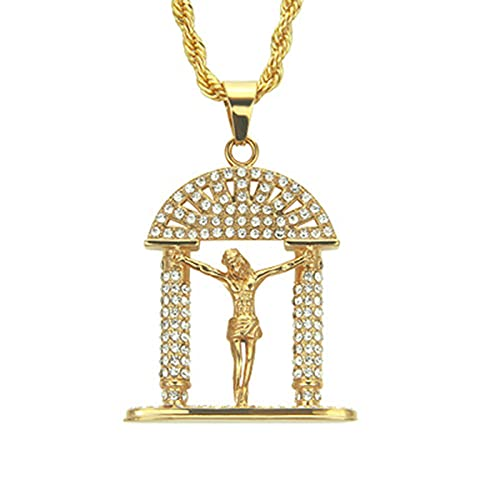 Jesus Hip Hop colgante collar para mujeres hombres Bling Bling Frozen Christ...