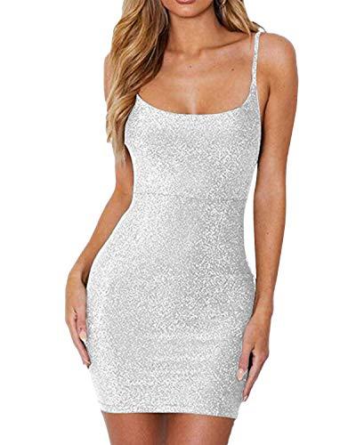 Auxo Damen Lingerie Babydolls Minikleid Schulterriemen Sommer Nachtwäsche Paillette Kleid Weiß X-Large