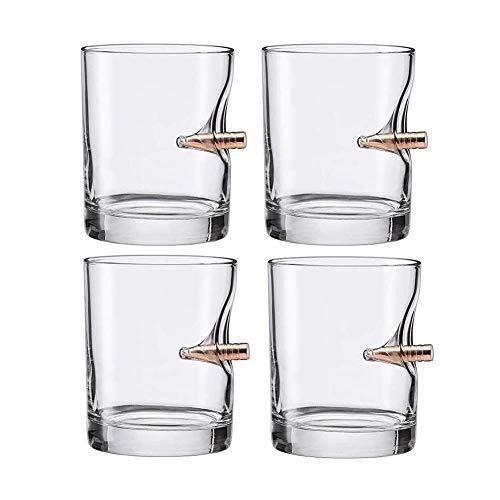 Whiskey Glasses Set Whiskey Jart Set Whiskey Glass Hand Blown Old Whiskey Rock Glass, High Clear Rum Spirits o Bourbon Dumblers Set de vidrio 4 vasos whisky cristal RVTYR