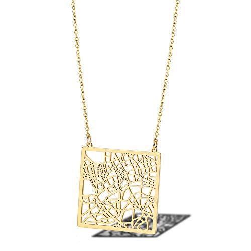 MXWY Halskette Edelstahl Männer Und Frauen Persönlichkeit Schmuck London Stadtplan Pullover Kette Titan Stahl Zubehör Paar Geschenk