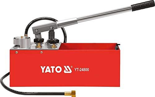 YATO Profi XXL Handpumpe für Drucktest, max. Druck 5 MPa (50 bar), 12 Liter, ideal für Solar Heizung Rohre, Hand Prüfpumpe Druck Prüf Pumpe Befüll Pumpe Test Heizleckprüfpumpe