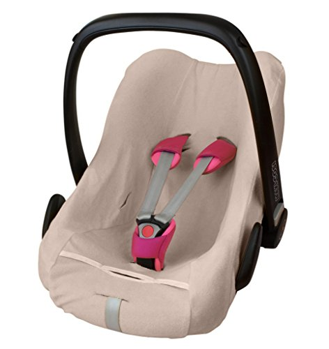 ByBoom - Frottee Sommerbezug, Schonbezug für Babyschale, Autositz, z.B. Maxi Cosi CabrioFix, City, Pebble; Designed in Germany, MADE IN EU, Farbe:Beige
