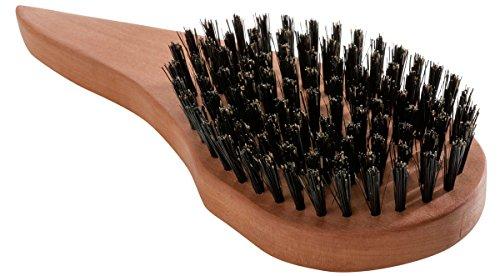 REMOS Natur Haarbürste aus 100{cea0509a507eba3ebdb98172393c38e13aa012f2613290ec18aa87fc4a386e38} Wildschweinborste ergonomisch für Linkshänder