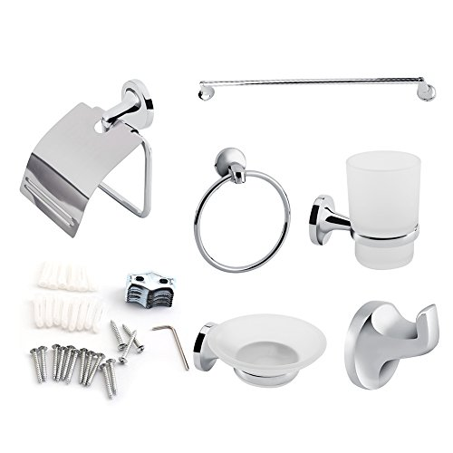 Zoternen - Juego de accesorios de pared para cuarto de baño, toallero, soporte de cepillo de dientes, jabonera y soporte de papel higiénico, 6 unidades