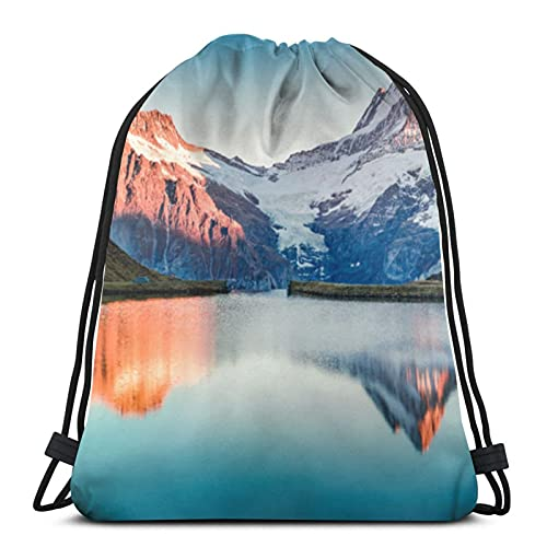 Rucksack mit Kordelzug, Schweizer Alpen, Sporttasche, Outdoor, Laufen, Schwimmen, Freizeitrucksack