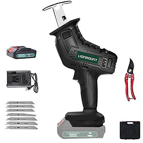 Reciprocating Saw, Lionmount 20V 2.0Ah Cordless Battery Powered Sawzall, 7 Saw Baldes, 0-2500SPM Variable Speed, 4/5