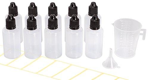 10 frascos cuentagotas de 50 ml con embudo gratis, vaso dosificador y...