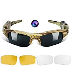 VIDEO GLASSES: this is a 16GB 1280x720 HD sports camera,a hunting glasses with mini hidden camera. Support real-time color video recording and photo taking. Image resolution: 2048x1164 , lens view angle: 75° MORE FUNCTIONAL: camouflage color, help to...
