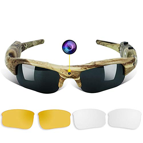 WISEUP 16GB 1280x720P HD Camo Sunglasses Hidden Camera Hunting Glasses Video Recorder Mini DV Camcorder Support Photo Taking