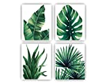 Botanical Prints Wall Art 8X10 UNFRAMED for Bathrooms, 4 Pieces Tropical Plants Pictures Minimalist Watercolor Painting, Palm Banana Monstera Green Leaf Wall Decor for Office Bedroom Living RoomHome Wall Art Décor Plants Posters Oil Paintings Posters Prints Watercolor Aesthetic Posters