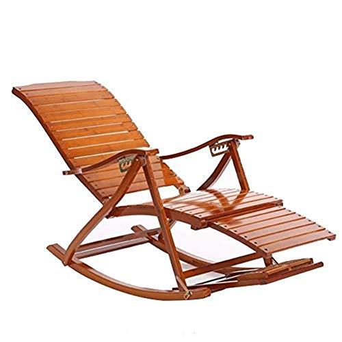 WYJW Sillas reclinables para Patio, Gravedad Cero Sillas Patio Mecedora de bambú Silla para Siesta para Adultos Sillones reclinables Balcón Plegable Silla para Anciano