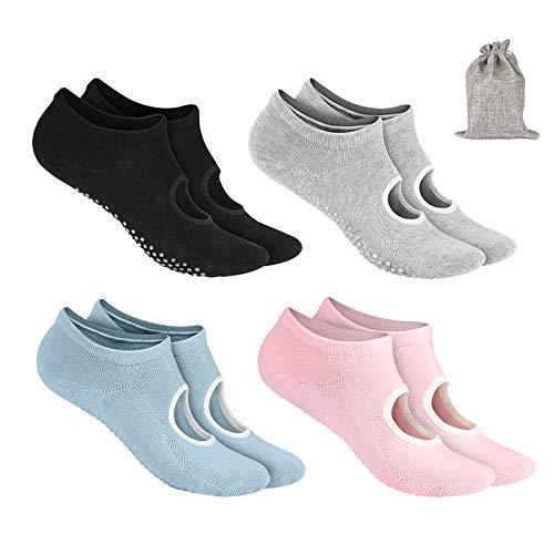 Tusscle Stoppersocken für Damen, Yoga Socken abs Socken Ideal Yoga Zubehör, Haussocken für Tanz, Pilates, Fitness, Rutsche und Trampolin [4 Paar...