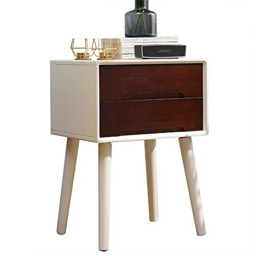Nachtkastje van hout, nachtkastje voor de woonkamer, koffietafel | multifunctioneel 2-laags | lade-inzetstuk | beuk poten | handvat met arco | installeer gewoon de poten A+