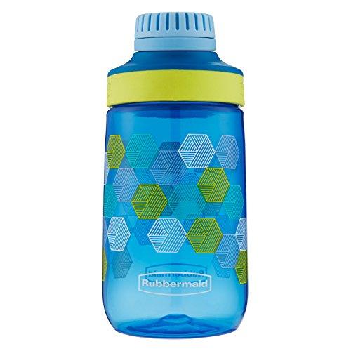 Rubbermaid Leak-Proof Chug Kids Water Bottle, 14 oz, Varsity Blue with Folded Hexagons Graphic