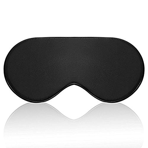 Silk Sleep Mask Eye mask for Sleeping-Soft Sleeping Mask Adjustable Blindfold Eyeshade for Men Women and Kids,Comfortable Eye Cover for Travel Nap Shift Work (Black)