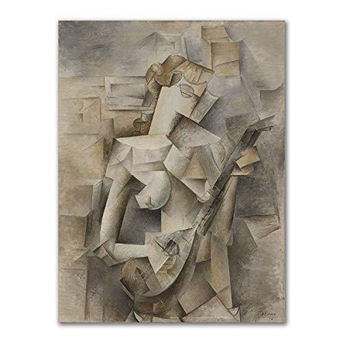 JYWDZSH Leinwanddruck Abstrakte Violine Gitarre Poster Drucke Cafe Bar Wandkunst Leinwand Malerei Kubismus Wandbilder Home Decoration, 50X70Cm No Frame