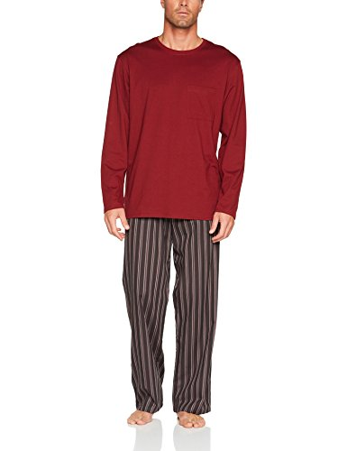 Seidensticker Herren Zweiteiliger Schlafanzug Lang, Rot (Bordeaux 502), Small (Herstellergröße: 48)