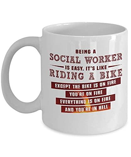 Jupsero Taza de café para trabajador social Ser trabajador social es fácil, excepto que todo está en llamas Taza divertida de trabajo social 8G8CBB