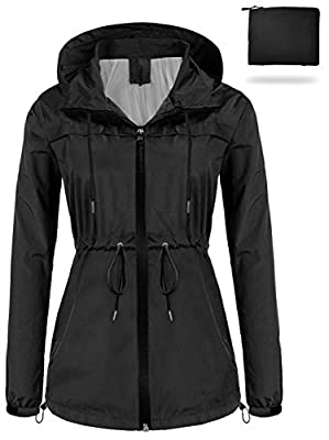 sunseen Women's Outdoor Waterproof Raincoat Packable Lightweight Rain Jacket Hooded Outerwear Trench Coat Travel Windbreaker (Black, XL)