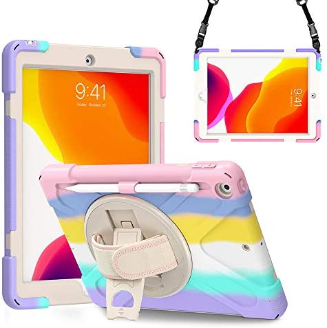 ZenRich iPad 8th Generation Case, iPad 7th Generation 10.2 Case with Pencil Holder Kickstand Hand Strap and Shoulder Strap zenrich Heavy Duty Rugged Shockproof Case for iPad 10.2 inch 2020/2019
