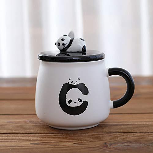 ZYJ 400 ML Creative Cute Cartoon Panda Ceramic with Lid with Spoon Mug Home Breakfast Milk Coffee Cup Drink Water Cups Mugs,A
