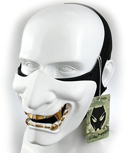 ATAIRSOFT Halloween Costume Cosplay BB Gun Evil Demon Monster Kabuki Samurai Hannya Oni Half Cover Airsoft and Prop Mask (White)
