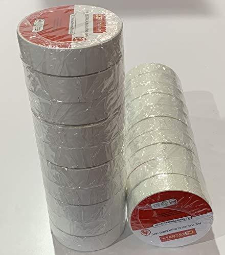 cinta aislante 0.13x19mm x 20 m pack 10 uds (blanca)