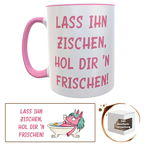 Kilala Geschenk zur Scheidung Trennung Liebeskummer Spruch Lass Ihn zischen rosa Becher inkl. Geschenkverpackung