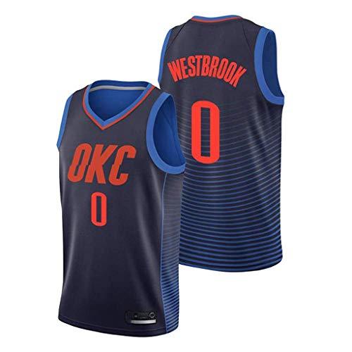 FMSports Herren Basketball Trikots - NBA Oklahoma City Thunder # 0 Russell Westbrook Basketball Fan Uniform Coole Atmungsaktive Stoffweste T-Shirt Jersey,XXL~185cm/95~110kg