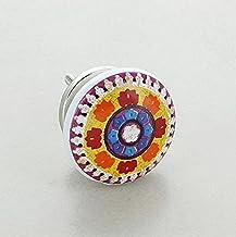 G Decor Mozaïek keramische deurknop vintage shabby chic kast lade trekgreep (oranje)