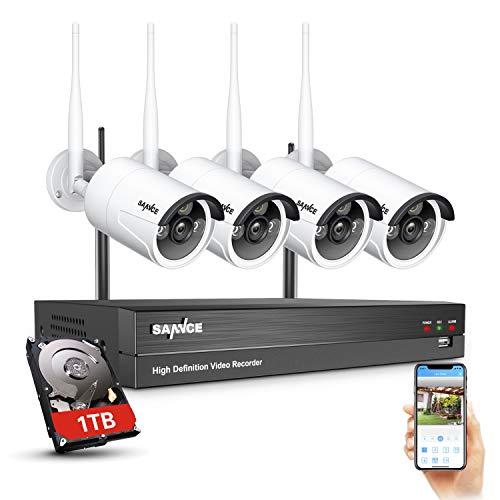 SANNCE WLAN Überwachungskamera Aussen Set Personenerkennung 8CH Videoüberwachung mit 4X 2MP Kabellose WiFi Kamera Outdoor 1080P Funk Überwachungssystem und 1TB HDD NVR, IR Nachtsicht, IP66 Wetterfest