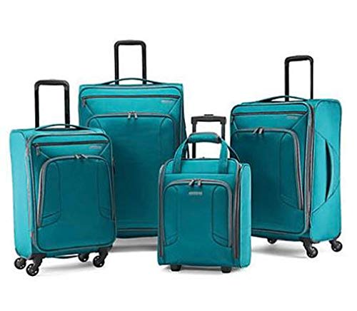 American Tourister 4 Kix Expandable Softside Luggage with Spinner Wheels, Teal, 4-Piece Set (RT/21/25/28)