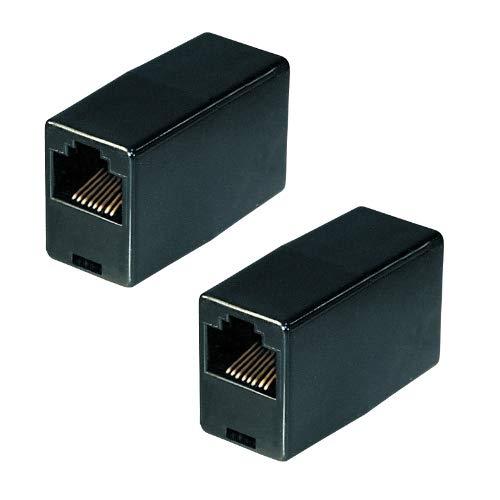 2X Netzwerk Kupplung | RJ45 | CAT5 | UTP | Ethernet LAN Kabel Verbinder | Verlängerung Adapter | 2X RJ45 Buchse | für Patchkabel Netzwerkkabel Ethernetkabel Lankabel | Schwarz | 2 Stück