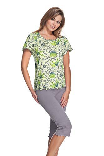 e.FEMME Celine - Pijama para mujer (algodón y modal) limón 38